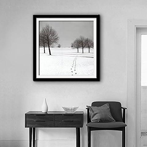 modylee Snow Scenery Framed Art dipinti Telone decorazioni dipinte dipinti soggiorno camera da letto Tela pittura a olio, Black,