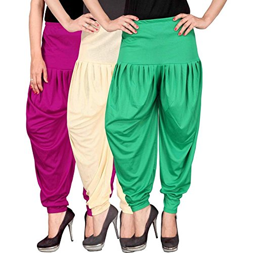 Culture the Dignity Women's Lycra Dhoti Patiala Salwar Harem Pants CTD_00M1CG_1-MAGENTA-BEIGE-GREEN-FREESIZE -...