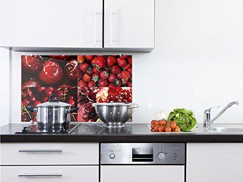 Apfel-granatapfel (Graz Design® Spritzschutz aus Sicherheitsglas Glastafel Erdbeeren Kirschen Granatapfel Äpfel (100x60cm))