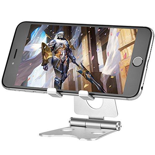TinMiu Handy Ständer 2 in 1 Multi-Winkel Faltbarer Aluminium Universal Ständer Einstellbare Desktop Smartphone Standhalter für iPhone, iPad, Samsung, Tablets, MacBook, Laptops (Silber)