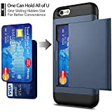 iPhone 6 / 6s Case with Card Holder and[ Screen Protector Tempered Glass x2Pack] SUPBEC i Phone 6/6s Wallet Case Cover with Shockproof Silicone TPU + Anti-Scratch Hard PC - Full Protective (Navy Blue)