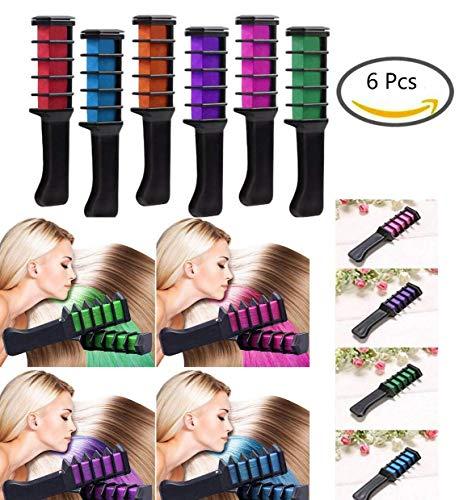 (Vianber Temporäre Haarfarbe Kamm, waschbar 6 Farben Safe Dye Haar DIY Sets für Mädchen für Anzieh und Party Cosplay)