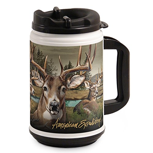 American Expedition TM24-302 Thermal Mug, Whitetail Deer Collage, 24 oz., Multi-Color