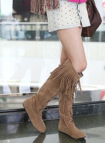 Minetom Donna Autunno Inverno Elegante Stivali Lunghi Casual Heel Piatti Boots Nappa Stringate Stivali Giallo