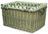 east2eden Driftwood Wicker Willow Storage Log Hamper Basket with Stag Liner in Choice of Sizes (Large)