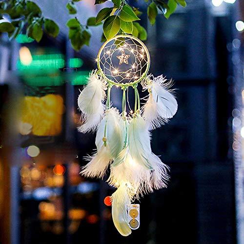 Atrapasueños de plumas luz de noche para colgar en la pared del coche decoración de la habitación del hogar por LEEDY