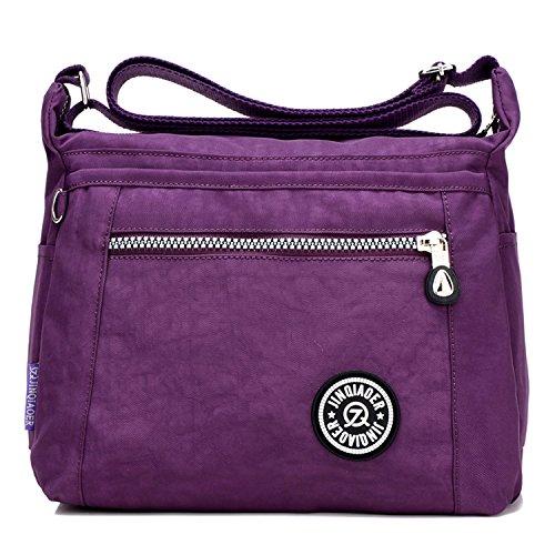 MeCooler Umhängetasche Mädchen Kuriertasche Wasserfeste Handtasche Messenger Bag Damen Taschen Designer Schultertasche Sporttasche für Reisetasche Strandtasche Nylon Lila