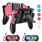 HEYSTOP Switch Grips Soporte, Joy-con Grips para Mandos Switch,Comfort Nintendo Switch Grip Funda con 2 Juegos Almacenamiento,6 Thumb Grips,Switch Accesorios 4en1