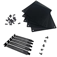 Nincha 12mm PVC Computer PC Cooler Fan Filter Black Dustproof Case Cover Computer Mesh pack of 5 + Black Hard Steel Dust Filter Blanking Plate PCI Slot Cover 5 Pcs With Screws