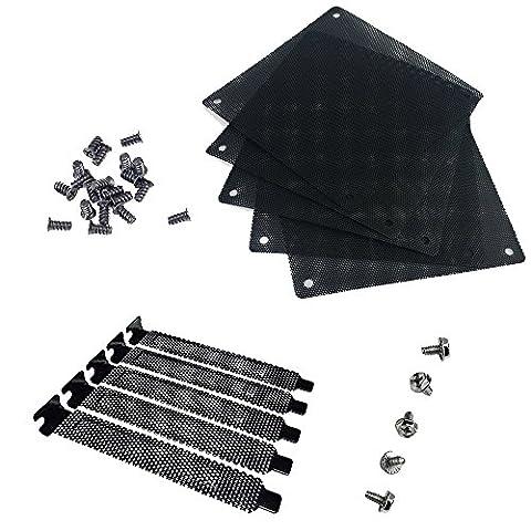 Nincha PVC 12mm ordinateur PC Cooler Fan filtre Noir à la poussière Coque ordinateur en maille Lot de 5+ Noir Rigide en acier filtre à poussière plaque obturation Slot PCI Coque 5pcs avec