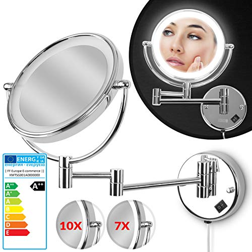 Kosmetikspiegel | EEK: A++ | mit 10- fach Zoom, Ø 20cm, LED-Beleuchtung, Wandmontage, 3-fach Gelenkarm | Schminkspiegel, Vergrößerungsspiegel, Rasierspiegel, Badspiegel, Wandspiegel, Make up Fach -