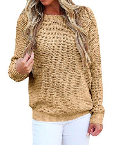 Suimiki Damen Kreuz Pullover knit pulli Langarmshirts Rückenfreies Oberteil mit Schnürung hinten Sweatshirt Bluse Tops Khaki