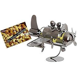 BRUBAKER Porte-bouteille de Vin décoratif - Sculpture en Métal - Idée cadeau - Couple en Avion