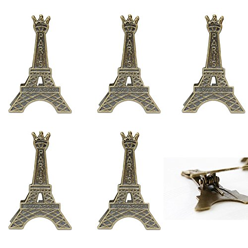 ICYANG 100Klein Creative Vintage Metall Eiffelturm Karte Halter Clips Paris Stil Hochzeit Dekoration Memo Ständer Karte Papier Note Nachricht Foto Inhaber Display (Zwischenablage Mit Gold)
