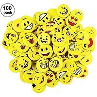 OOTSR 100 Piezas Sonrisa Emoji borradores para niños, borradores Redondos y Divertidos establecidos para la Escuela Aula Recompensa Suministros de Oficina Llenadora de Bolsas de Fiesta