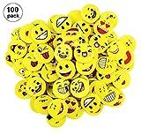 OOTSR 100 stücke Emoji Radiergummis für Kinder, Runde Spaß Radiergummis Set für Schule Klassenzimmer Belohnung Büro Party Geschenktüte