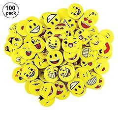 Idea Regalo - OOTSR 100pz emoji gomme da cancellare per bambini, emoji emoticon gomma cancellare matita set per forniture per ufficio/sacchetto per la ricompensa in classe scolastica/regalo per feste