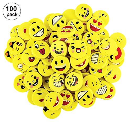 OOTSR 100pz emoji gomme da cancellare per bambini, emoji emoticon gomma cancellare matita set per forniture per ufficio/sacchetto per la ricompensa in classe scolastica/regalo per feste