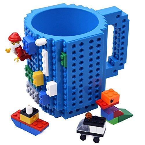 Kyonne build-on brick mug, tazza da costruire con mattoncini, tazze da colazione, idee regalo per natale originali (blu)