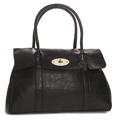 Big Handbag Shop Schultertasche aus Kunstleder mit Drehschloss, Designer-inspiriert Gr. Einheitsgröße, schwarz -