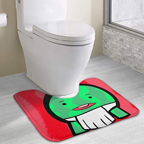 Vidmkeo Japanese Thongs Watermelon Contour Bath Rug, U-Shaped Polyester Toilet Floor Mat Non Slip Bathroom Shower Carpet - Contour Thong