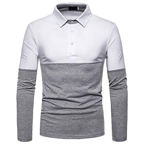 T-Shirt Herren Poloshirt Bluse Bluse Stilvolle Casual Langarm Unregelmäßige Patchwork Kragen Oberteile Outwear Herbst Winter G-White XL