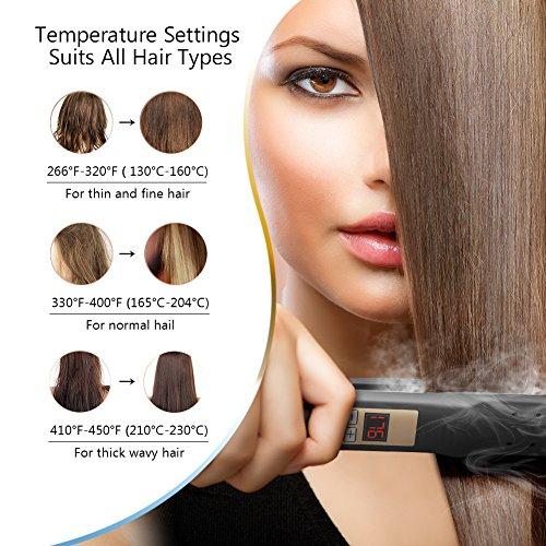 Plancha de pelo profesional con recubrimiento cerámico antiestático, temperatura ajustable, pelo liso al instante, valido para casa o peluquería