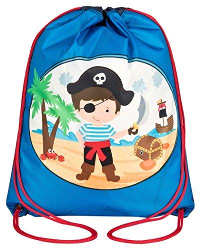 Aminata Kids - Kinder-Turnbeutel für Junge-n und Mädchen mit Piraten-Schiff Schatz Toten-Kopf-Flagge Pirat-en Sport-Tasche-n Gym-Bag Sport-Beutel-Tasche hell-blau Weiss
