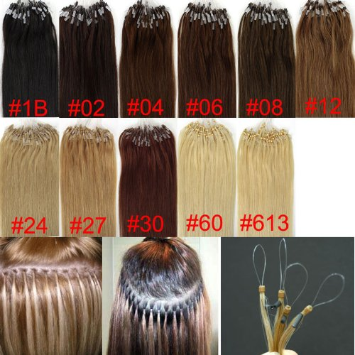 Loop Micro Ring Remy Human Hair EXTENSION fashion Colors 30# Auburn,50g,100S 18