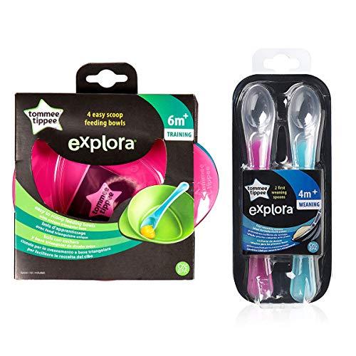 Tommee Tippee - Juego de 4 Cuencos de alimentación fácil para cucharas, 6 m + y 1 Cuchara de destete Explora 4 m + Libre de BPA (Rosa y Azul)