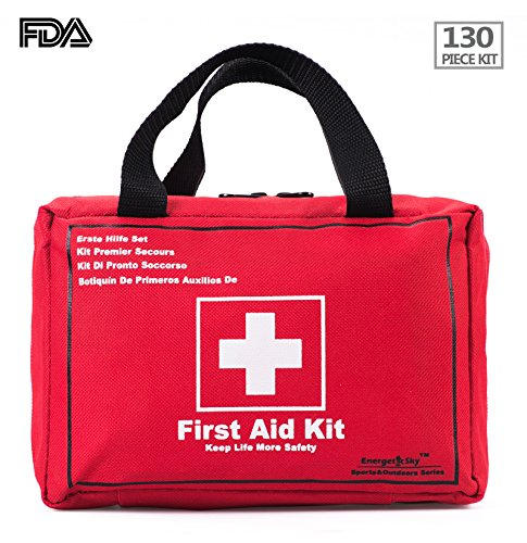 Songwin First Aid Kit of 130 items, Survival Tools Mini Box - Waterproof Medical Bag for Car, Home, Camping, Hunting, Travel, Outdoors or Sports, Small and Compact.