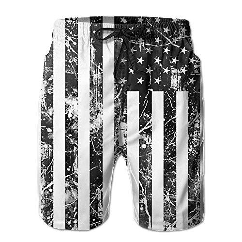 Jocper Men's Vintage Black American Flag Quick-Drying Summer Boardshort Swimm Surf Trunk Short Beach Pant Medium -