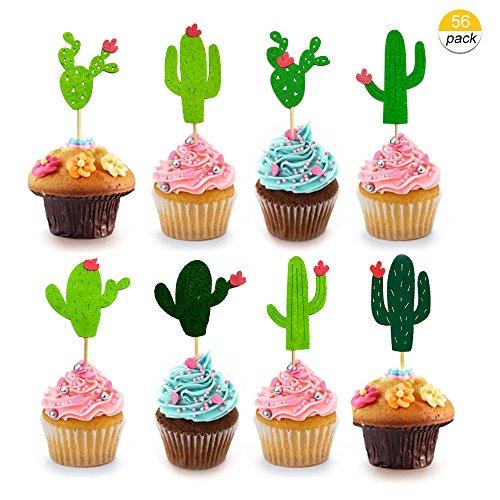 Winko Kaktus Cupcake Topper für Kuchen Dekorationen Hawaii Partyzubehör Tropical Kakteen Thema Sommer Geburtstag Party Supplies (56Stück)