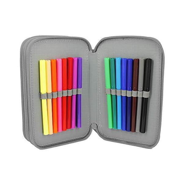 Starplast, Estuche Escolar Plumier, 3 Compartimentos, 16 Lápices de Colores, 16 Rotuladores de Colores, Sacapuntas, Goma…