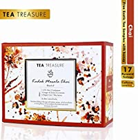 TeaTreasure Kadak Masala Chai with Ginger, Cloves, Cinnamon, Peppercorn and Cardamom - 1 Teabox (17 Pyramid Tea Bags)