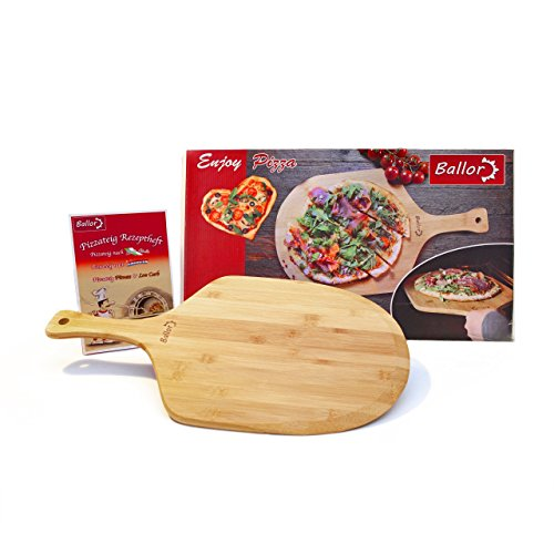 Ballor Pizzaschaufel aus natürlichem Bambus Auch als Brotschieber und Ofenschaufel Ein Pizzawender Geeignet für Backofen und Pizzastein