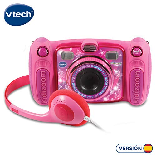 Vtech Kidizoom Duo 5.0 Digitale Kamera für Kinder, 5 MP, Farbdisplay, 2 Objektive, Pink Spanische Version Rosa