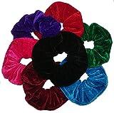 Aadya® Pack of 7 Hair Scrunchies Velvet Elastics Scrunchy Bobbles Hair Bands Hair Ties Ponytail Holders