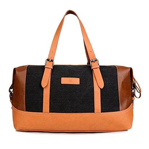 Happytimebelt 45cm Trim Weekender borsa da viaggio, borsone in tela, Brown, L Black