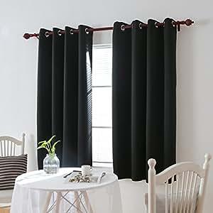 Deconovo vorhang verdunkelung sen gardinen schlafzimmer thermogardine sen 175x140 cm schwarz - Gardinen set schlafzimmer ...