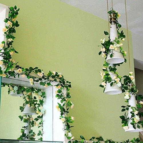 stliche blumen rattan Décor hängende Dekoration für Hochzeit Party künstliche blumen efeu Girlande Simulation silk Blume rattan Simulation Décor(Champagnerfarbe) (Hängende Dekorationen)