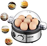 Aicok Fornello per uova elettrico, Egg Egger / Egg Steamer-400 Watt, Acciaio inossidabile, 1-7 Capacità uova, Multifunzione con durezza selezionabile, Beep, Finestra visibile