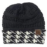 KJNHL Winter Warme Mütze Damen Baumwolle Stricken Häkeln Lässig Outdoor Ski Schwarzen Hut
