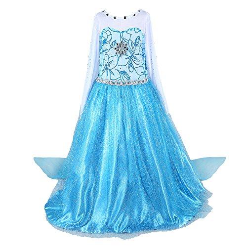 Prinzessin Kostüm Kinder Glanz Kleid Mädchen Weihnachten Verkleidung Karneval Party Halloween Fest (110 (Körpergröße 110cm), Elsa #02)