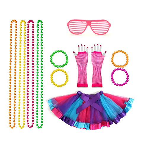 Dress Party Fancy Kostüm - Rpanda 80er Mädchen Neon Tutu schick Kleid Outfit Komplettes Set, Kostüme der 80er Jahre Fancy Dress Party Accessoires mit Fishnet Gloves Halsbänder und Neon Wrist Beads