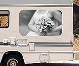 3D Autoaufkleber Braut Brautkleid Blumen Freesie rosa Blume schwarz weiß Wohnmobil Auto Fenster Sticker Aufkleber 21A1103, Größe 3D sticker:ca. 161cmx 96cm