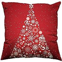 99native 2019 Taie d'oreiller décorative Noël Rouge,Coton Lin Blend Géométrique Décoratif Housse de Coussin 45x45 cm [ 18x18'' ] (D)