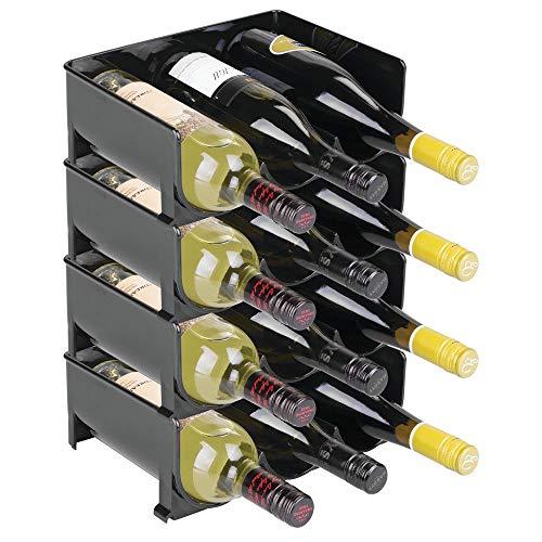 mDesign Lot de 4 Range-Bouteilles en Plastique - casier à vin empilable et modulable pour Stockage de 3 Bouteilles de vin et d'Eau par unité - aménagement Pratique de la Cave et la Cuisine - Noir
