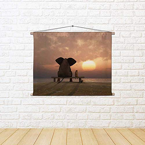 ArtzFolio Elephant & Dog D4 Silk Painting Tapestry Scroll Art Hanging 16 X 12Inch -