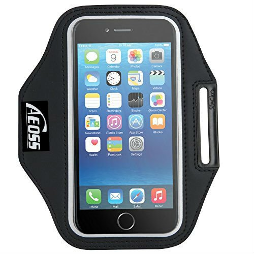 "Aeoss Sports Running Jogging Gym Armband Case Cover Holder Compitbale for all smart phones till 5.5"" inch iphone 6 plus , Samsung Note 3 ."